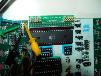 ATMega32 in STK500 closeup.